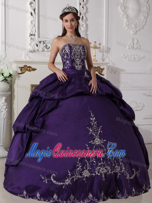 Deep Purple Quinceanera Dress with Embroidery and Pick Ups for ...