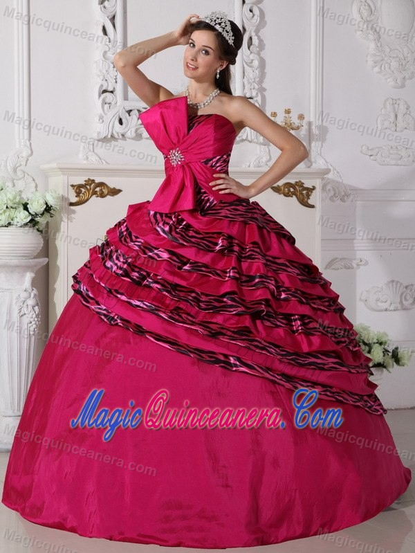 Fuchsia Strapless Quinceanera Dress with Big Bow and Zebra Layers ...