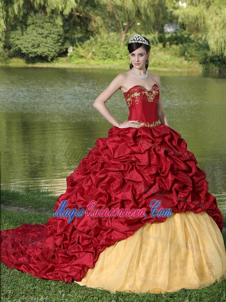 Wine Red and Gold Sweet Sixteen Dresses with Pick-ups and Brush Train