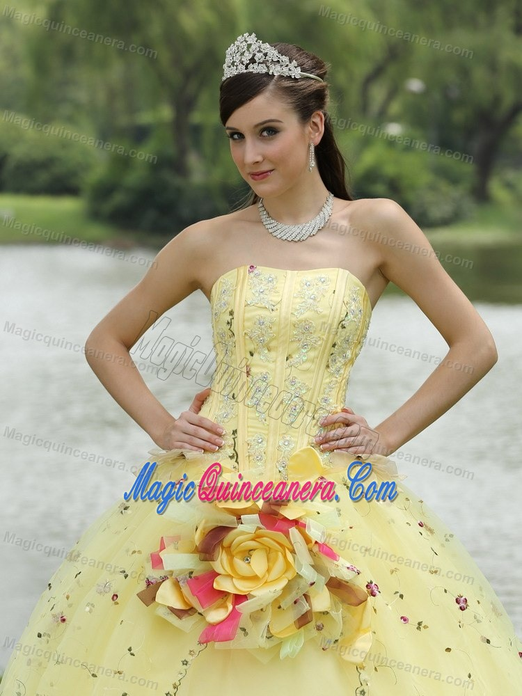 Light Yellow Quinceanera Dress with Embroidery and Hand Made Flowers