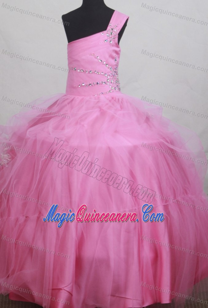 Texas Sweet Beading Ball Gown One Shoulder Little Girl Pageant Dress