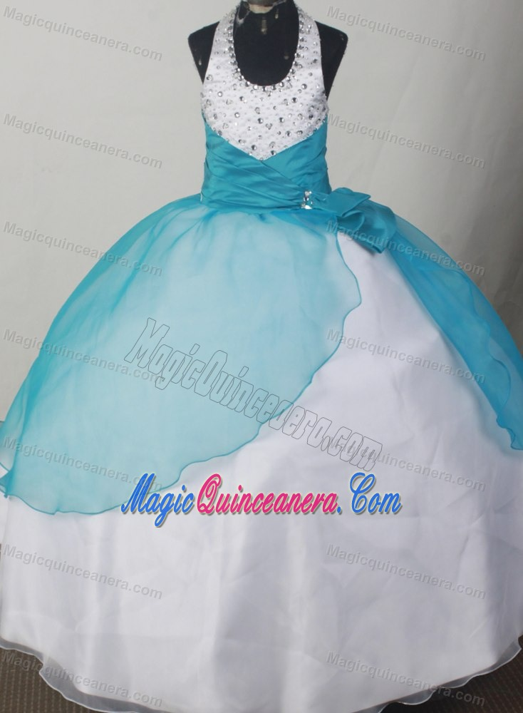 Beaded Decorate Halter Teal and White Flower Girl Pageant Dress