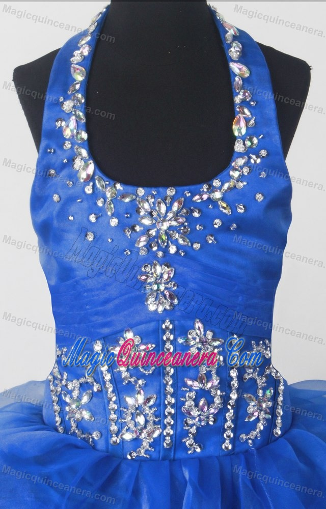 Ryal Blue Ruffles and Beading for Little Girl Pageant Dress with Halter