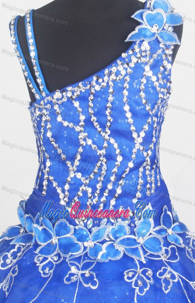 Beading and Flowers for Little Girl Pageant Dress in Royal Blue