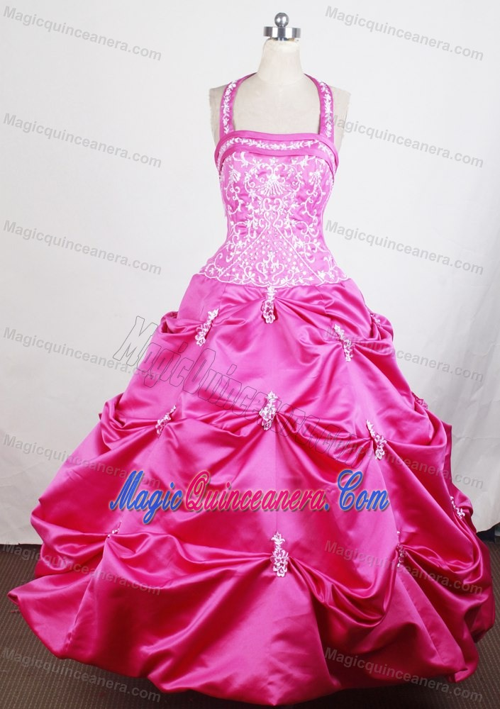 Halter Hot Pink Glitz Pageant Dresses with Embroidery and Pick-ups ...