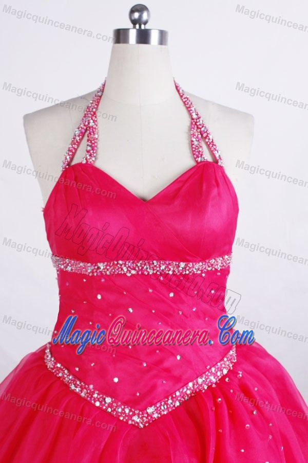 Halter Hot Pink Glitz Pageant Dresses Beading Accented in Delaware