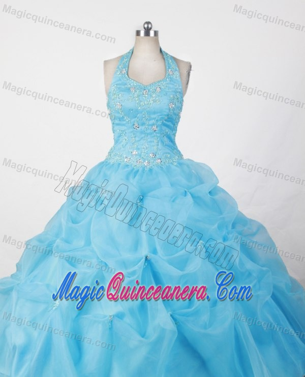 Halter Baby Blue Appliques and Pick-ups Glitz Pageant Dresses ...