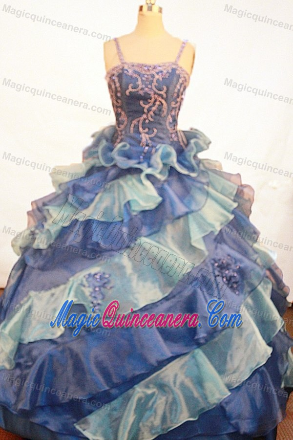 Appliques and Ruffles Ball Gown Straps Blue Glitz Pageant Dresses ...