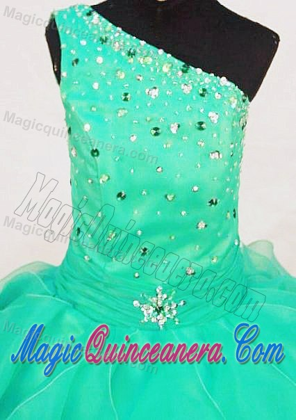One Shoulder Turquoise Glitz Pageant Dresses with Beading and Ruffles