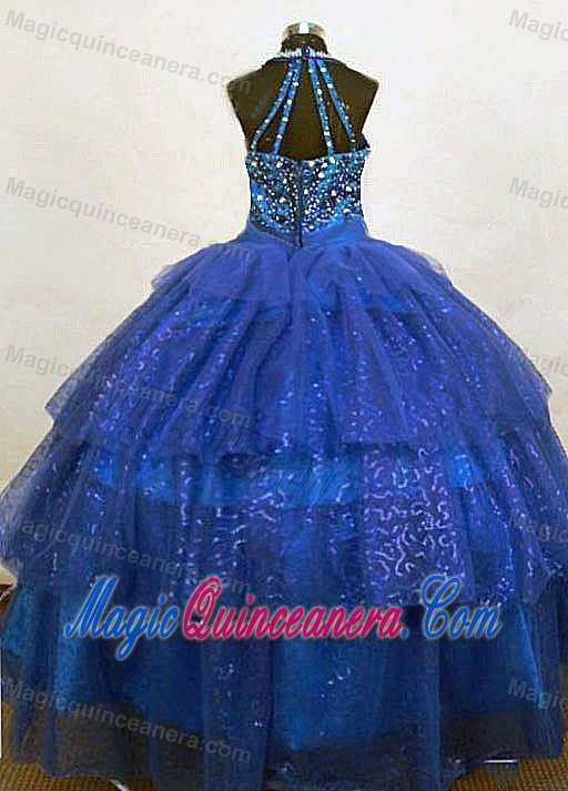 Organza Beaded Blue Halter Girls Pageant Dress with Beads