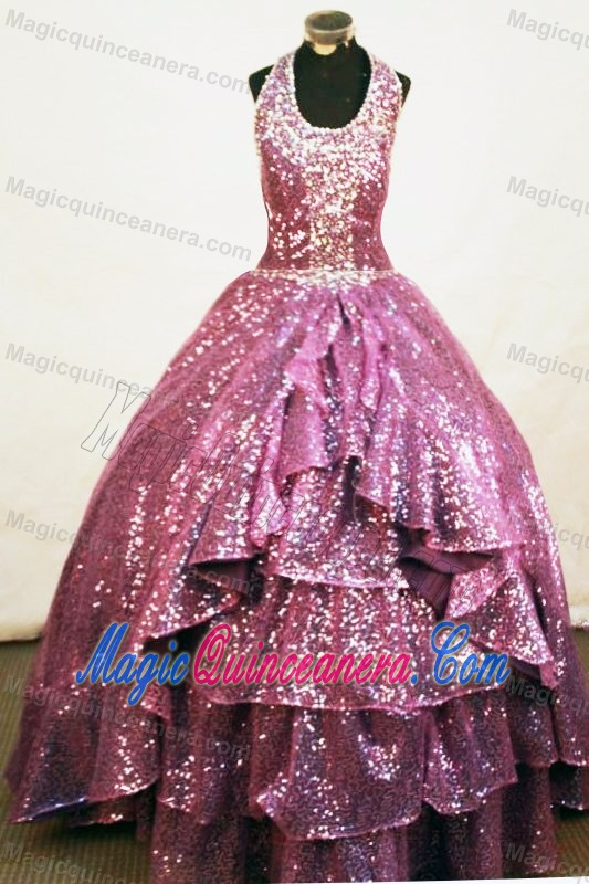 Cheshire A-line Halter Fuchsia Bead Pageant Gowns Sequined - Magic ...