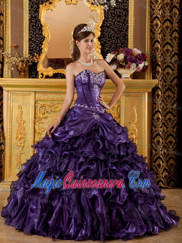 56cb65432e3 Purple Sweetheart Sweet 16 Dresses with Ruffles and Appliques ...