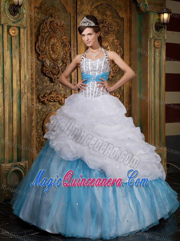 Blue And White Ball Gowns Blue and White Halter