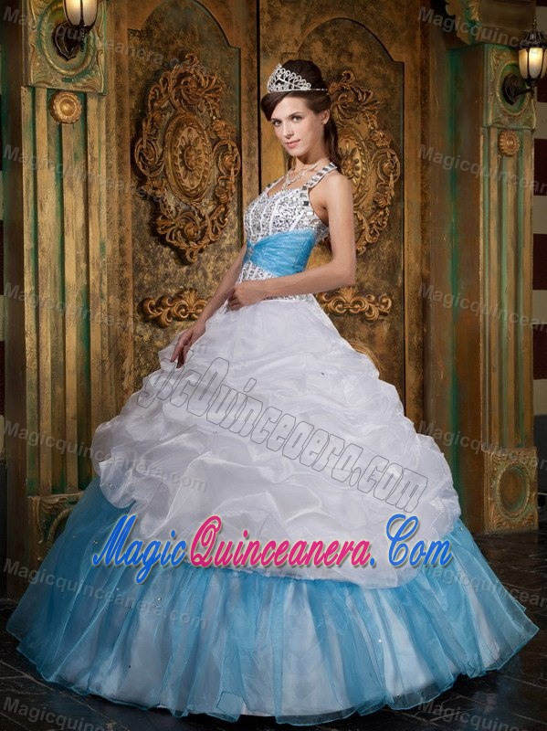 White and Blue Quinceanera Dress with Halter Top Neckline and ...