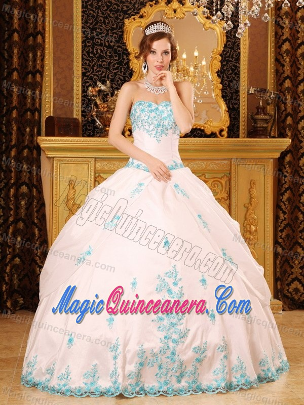 White Quinceanera Gown with Sweetheart Neck and Turquoise ...