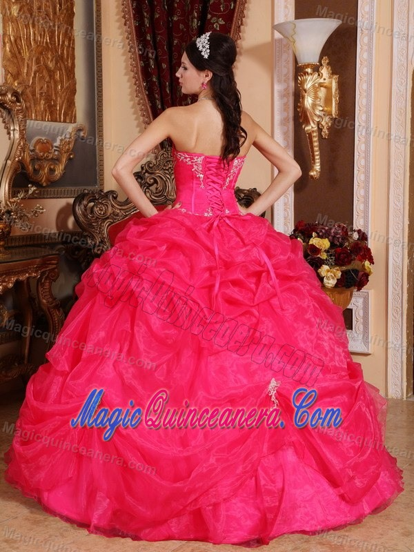 Desirable Hot Pink Organza Pick Ups Dress for Sweet 15 Dresses ...