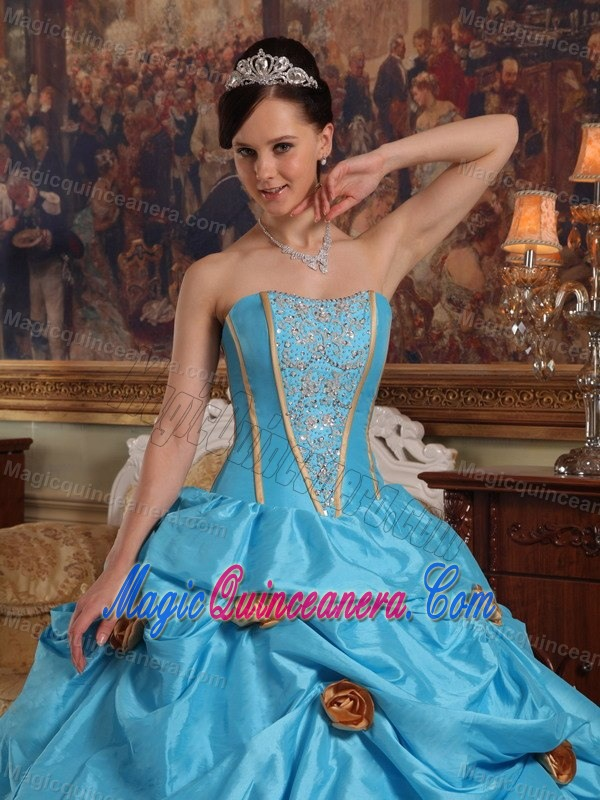 6f83fecae51 ... Teal Taffeta Beading Quinceanera Gown Dresses with 3D Flowers and Pick- ups