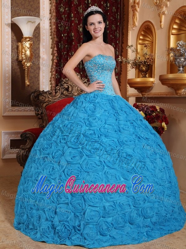 Rolling Flowers and Beading Accent Sweet 15 Dresses in Baby Blue ...