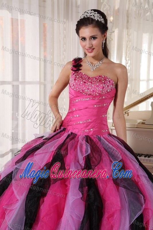 7335f60478 Colorful Flowery One Shoulder Sweet 16 Dresses in Maceio Brazil ...