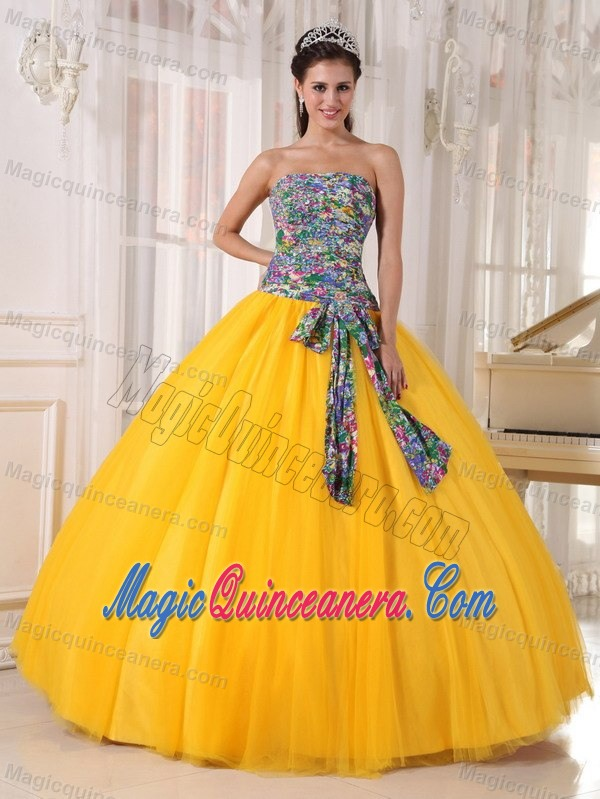 Bright yellow quinceanera dress