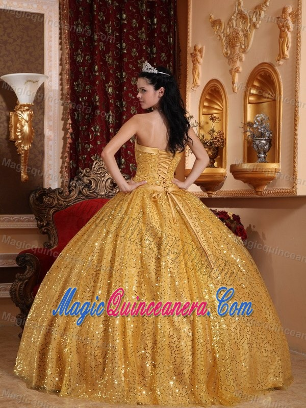 Beaded Gold Sweet Sixteen Dresses with Sequins Over Skirt on Sale ...
