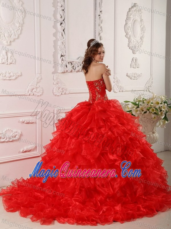 Embroidered and Ruffled Red Sweet Sixteen Dresses with Brush Train