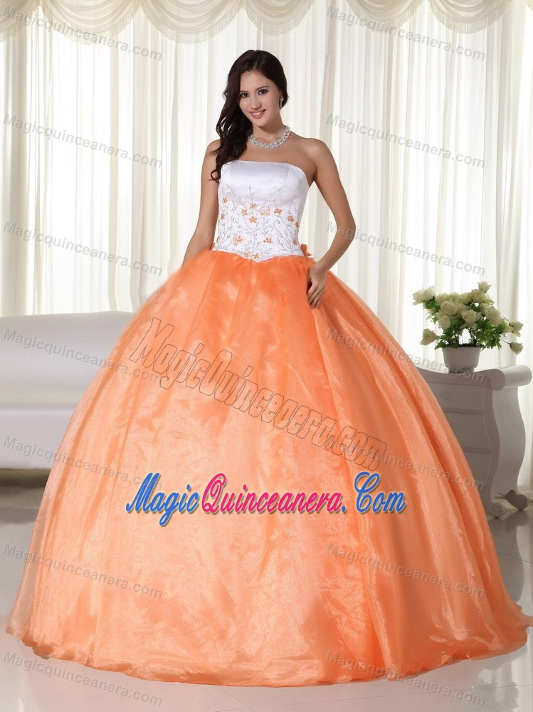 Embroidery Orange and White Ball Gown Quinceanera Dress 2014 ...