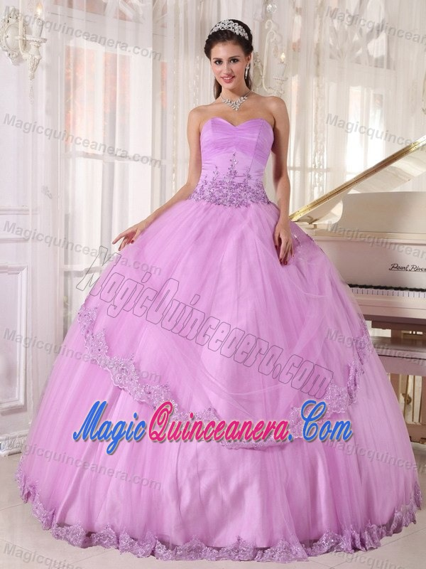 Pretty Sweetheart Lace Hem Lavender Quinceanera Party Dresses