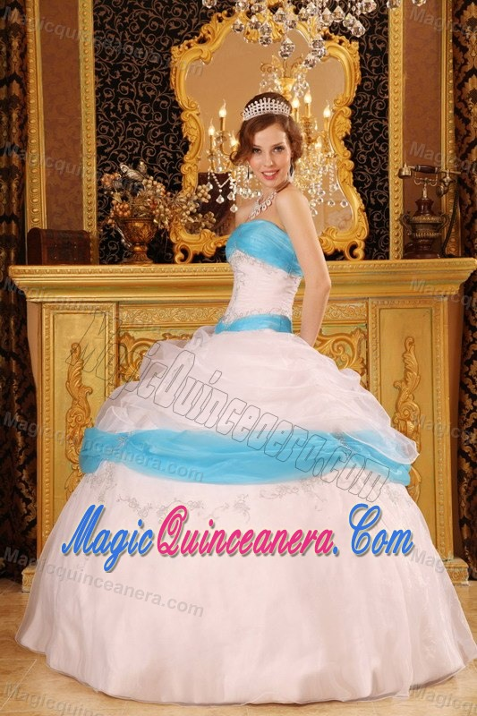 White and Blue Appliqued Sweet Sixteen Dresses for Winter ...