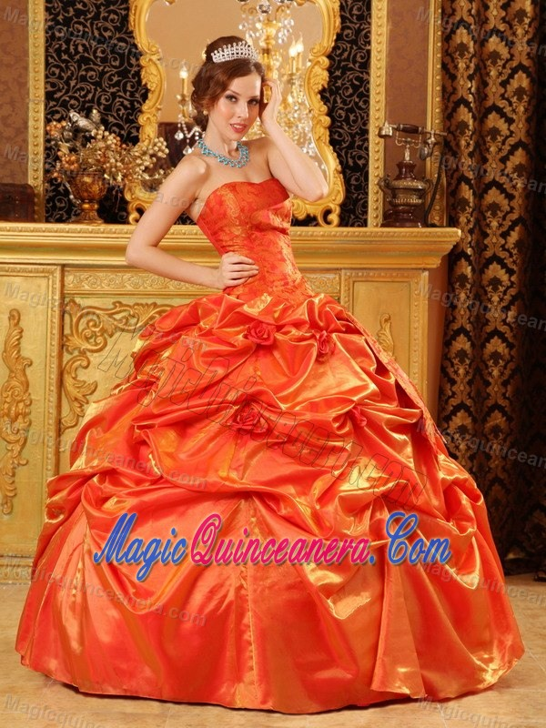 New Orange Red Pick Ups Flowers Quinceanera Party Dresses