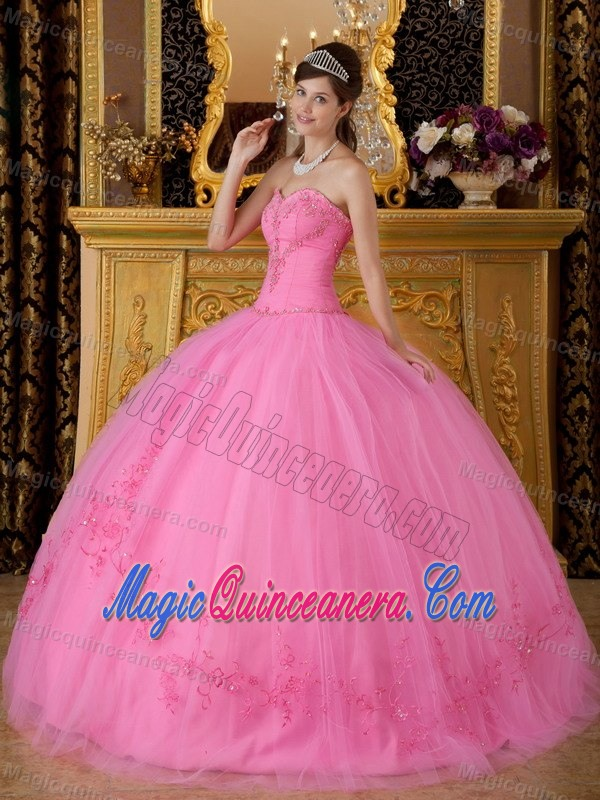Fast Shipping Rose Pink Ball Gown Appliqued Quinceanera Dress