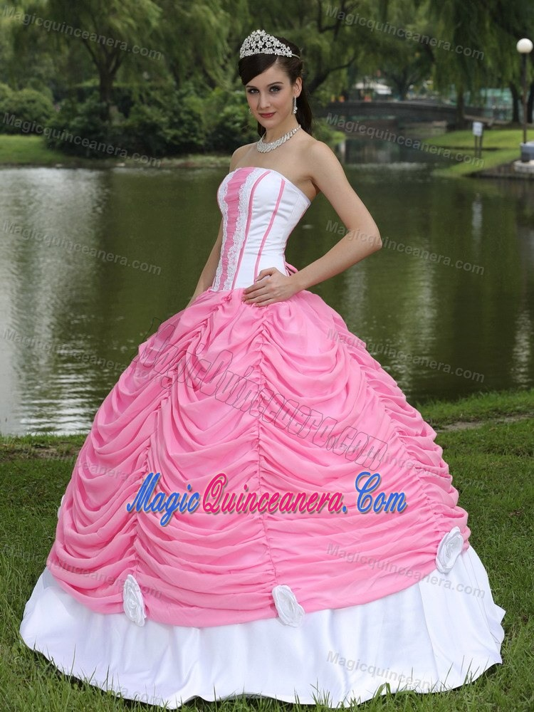 3abae9b08d Pick ups Appliques Strapless Quinceanera Gown in White and Rose Pink ...