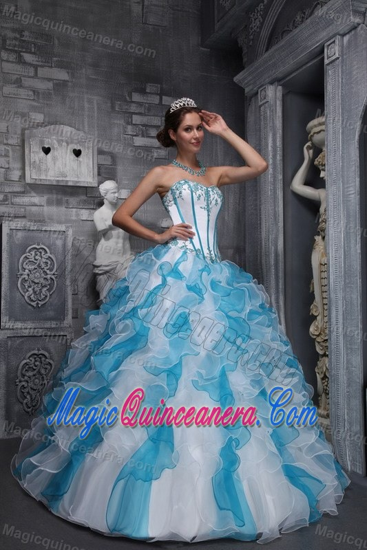 White and Blue Quinceanera Dress with Appliques and Ruffles 2014 ...