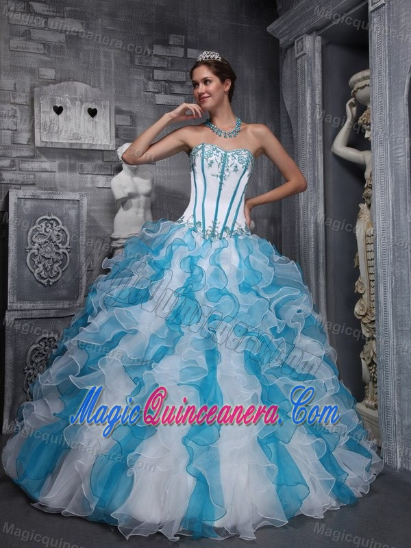 Blue And White Quinceanera Dresses 2014 - Missy Dress