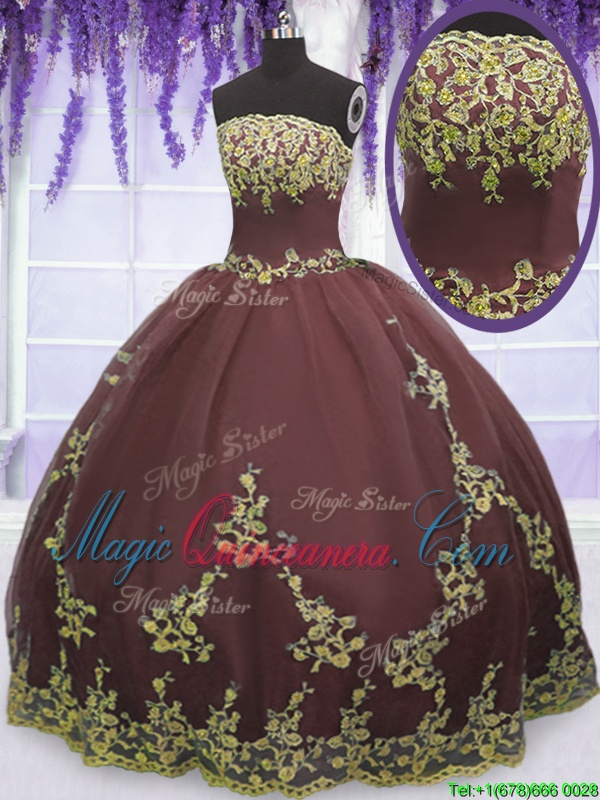Chocolate Tulle Zipper 15 Quinceanera Dress Sleeveless Floor Length Lace and Appliques