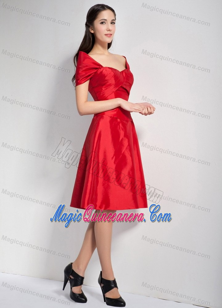 Red Off The Shoulder Knee Length Taffeta Dresses For Damas