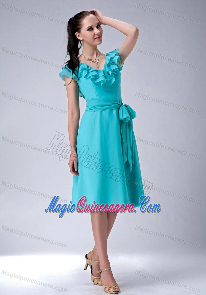Turquoise V-neck Chiffon with Sash Dresses for Damas in Melbourn ...