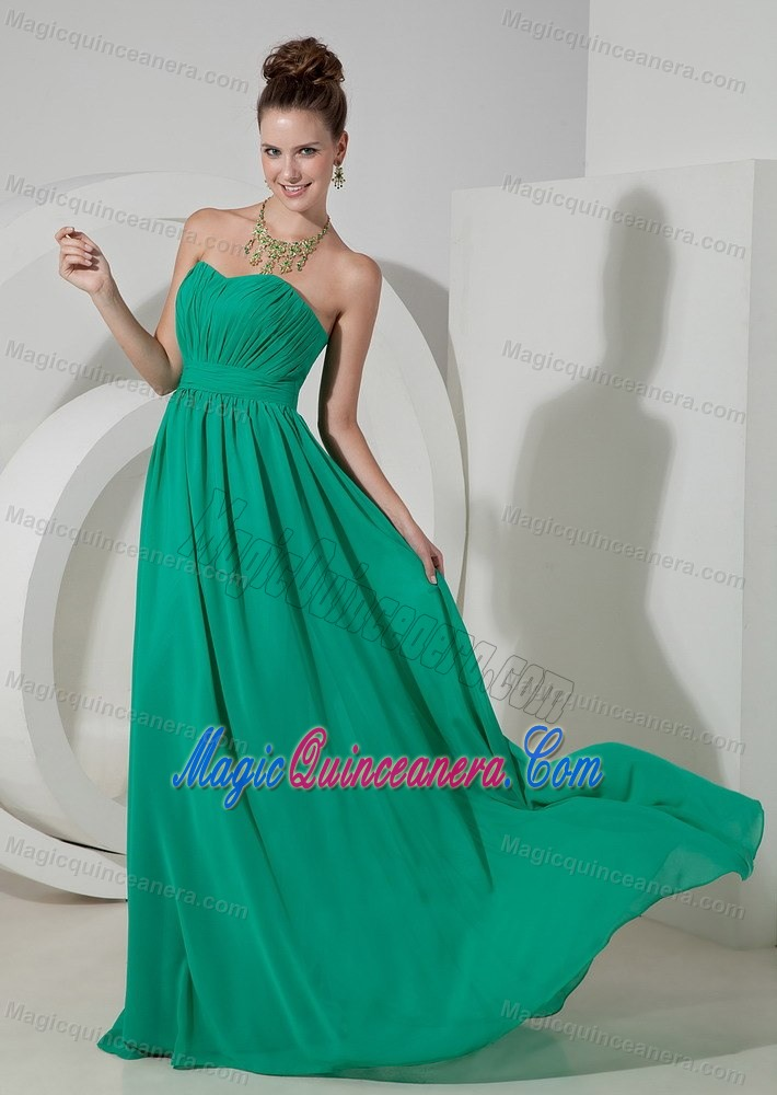 Turquoise Empire Strapless Brush Train Dresses for Damas in ...