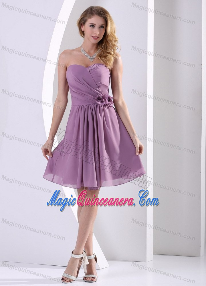 Cheap Purple Strapless Knee-length Chiffon Dama Dresses in London ...