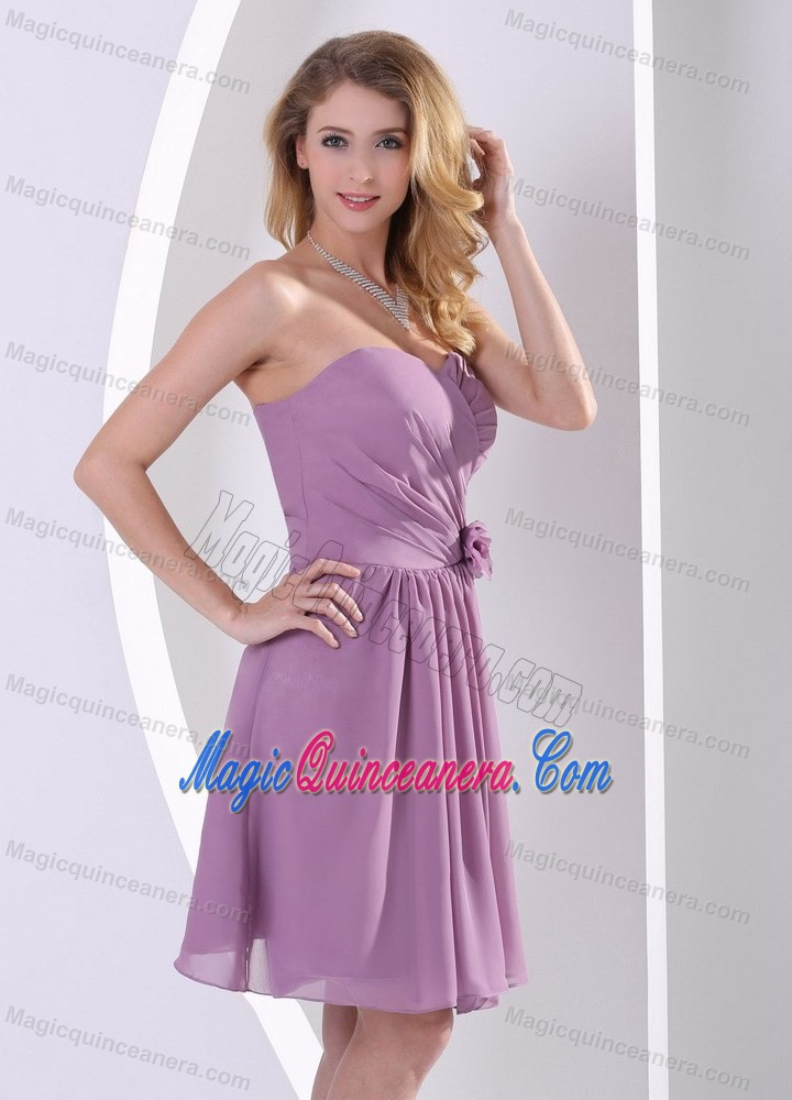 Cheap Purple Strapless Knee Length Chiffon Dama Dresses In