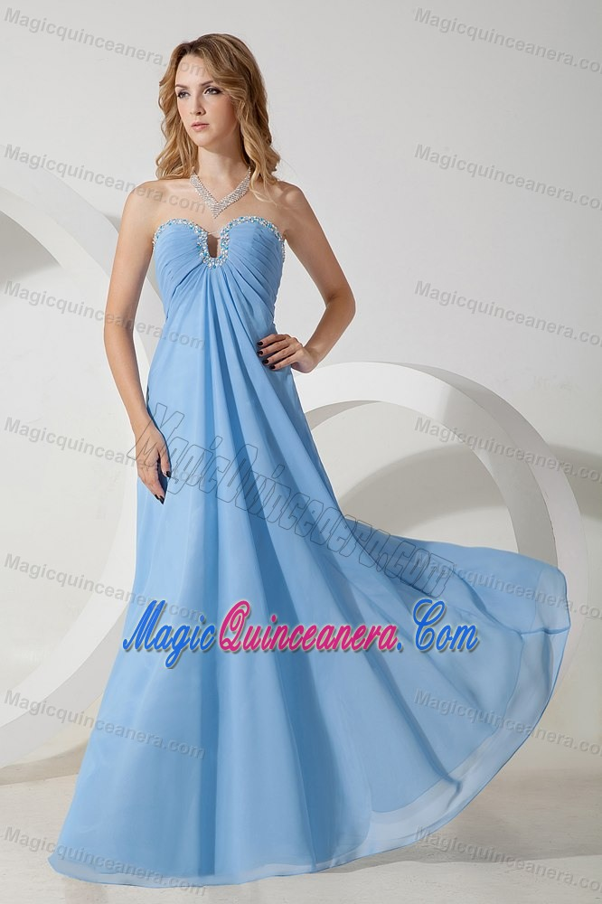 cd8a9c11d23 Ruched and Beaded Light Blue Chiffon Dama Dress for Quinceaneras. triumph
