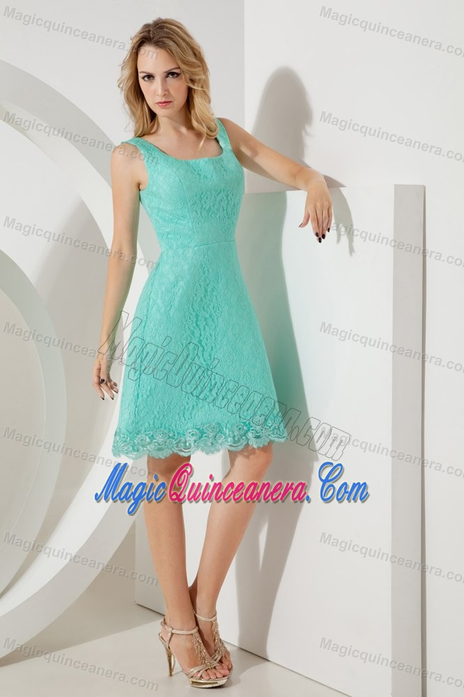 Turquoise A-line Square Lace 15 Dresses for Damas of Knee Length ...