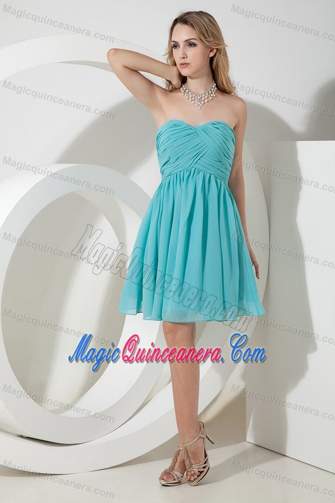 Ruched Turquoise Chiffon Mini 15 Dresses for Damas in Puerto Rico ...