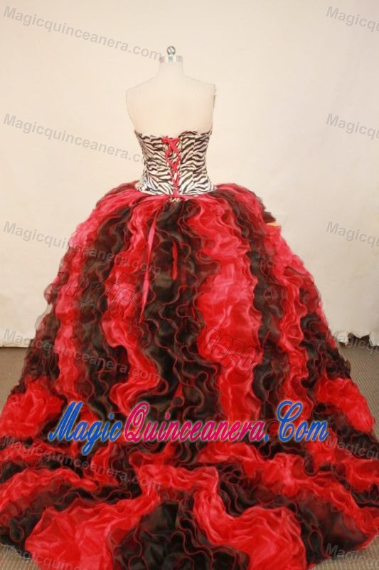 Zebra Red and Black Ruffles Quinceanera Dresses with Brush Train