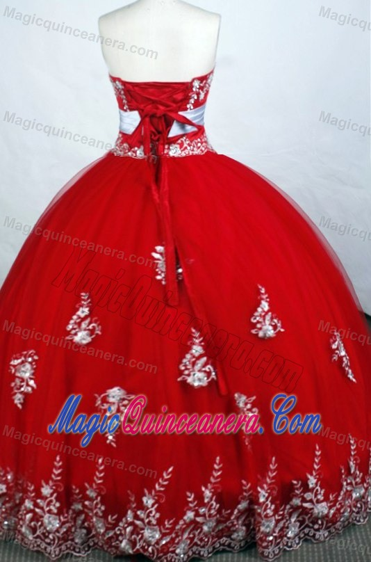 3cacc0e5f9b Embroidery Red Beading 2014 Quinceanera Dresses with White Belt ...