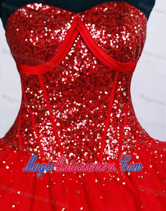 Paillette Red Cheap Sweet Sixteen Quinceanera Dresses in Quebec