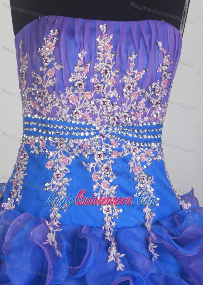 e53cb89adbe Appliques Ruched Blue and Purple Victoria Sweet Quinceanera Dress ...