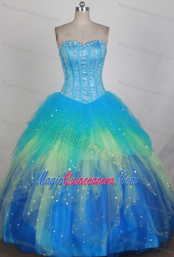 Beading Colorful Blue Sweetheart Quinceanera Dresses in Liverpool ...