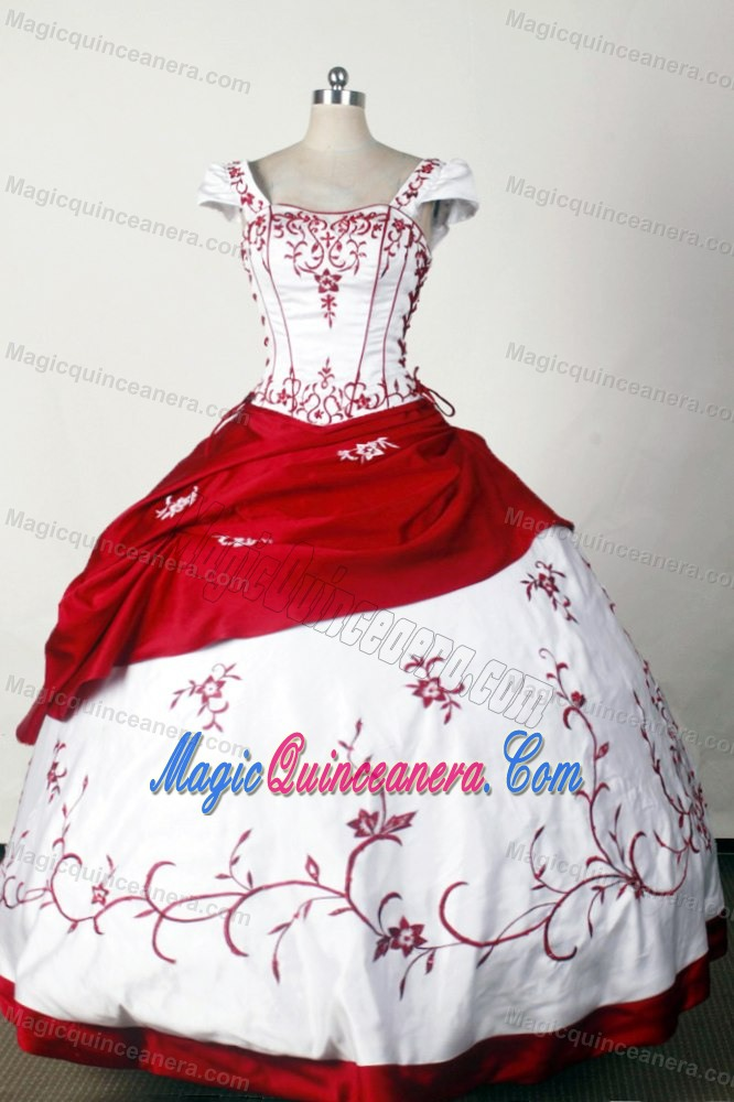 Red and white zebra quinceanera dresses
