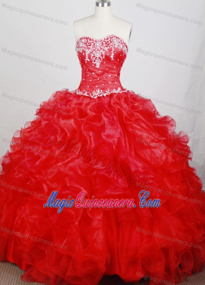 Detachable Ruched Appliques Red Quinceanera Dress in Toronto ...
